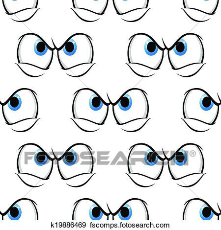 450x470 Clip Art Of Seamless Pattern Of Cross Angry Eyes K19886469