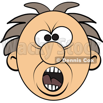 400x400 Free (Rf) Clipart Illustration Of A Screaming Mad Man's Face