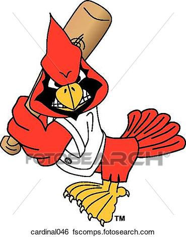 369x470 Stock Illustration Of Cardinal Playing Baseball With Angry Face