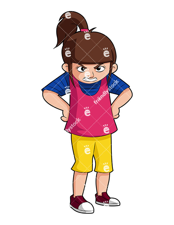 585x755 Angry Little Girl With Mean Look Amp Hands On Hips Vector Clipart