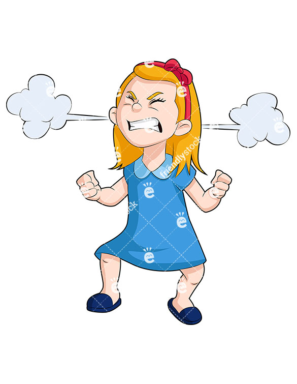 585x755 Angry Little Girl With Steam Clouds Billowing From Her Ears Vector