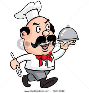 287x300 Angry Chef Carrying A Covered Dinner Clip Art Image