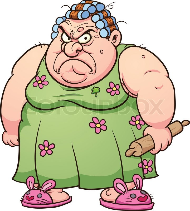 721x800 Fat Angry Woman. Vector Clip Art Illustration With Simple