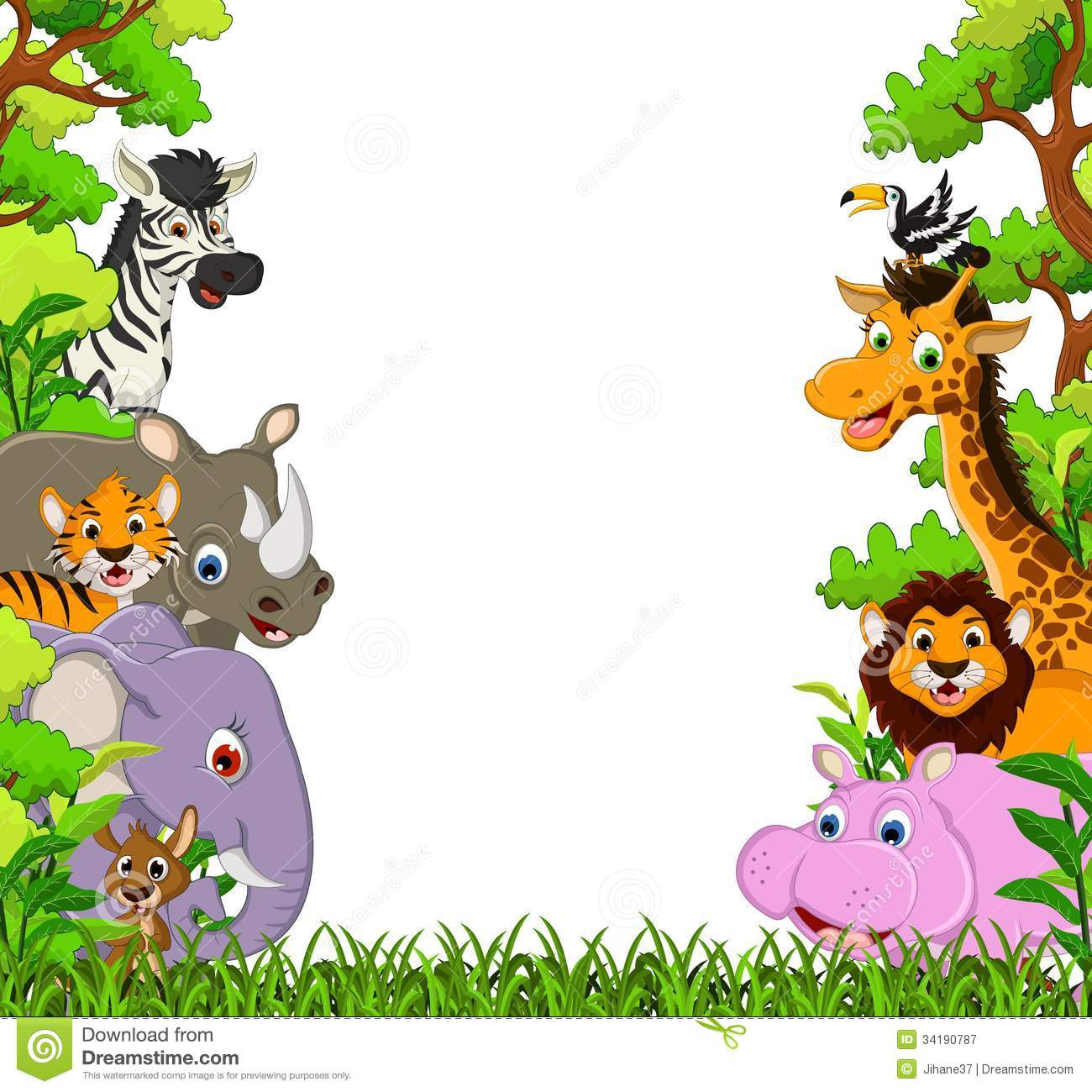 1300x1300 Image For Free Jungle Animal Clipart Cartoon Images Cute Animal