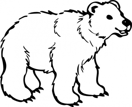 425x345 Polar Bear Clip Art Black And White Free Clipart 5