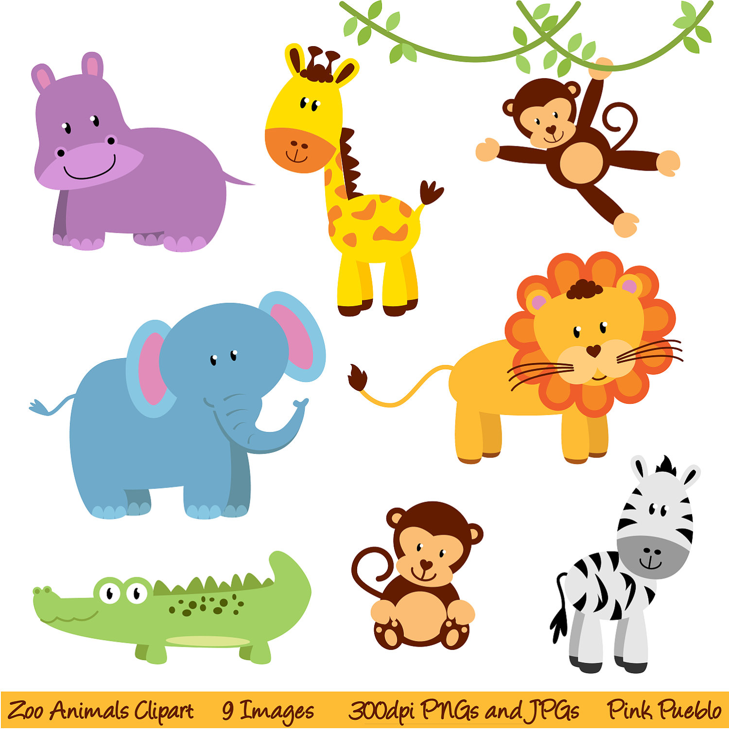 1500x1500 Animal Baby Clipart Jungle