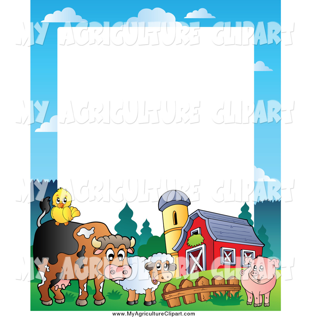 1024x1044 Vector Agriculture Clipart Of A Barnyard Animal Border By Visekart