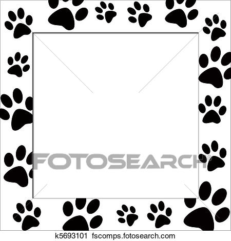 450x470 Clipart Of Animal Paws Border K5693101