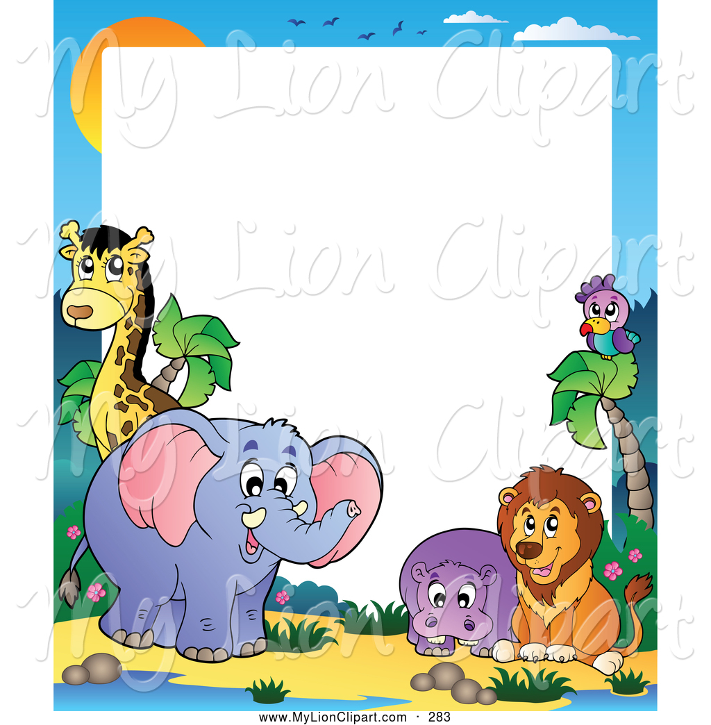 1024x1044 Clipart Of Frame Of Colorful, Friendly, Exoticnimals Under