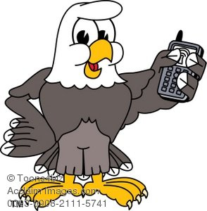 294x300 Clip Art Illustration Of Bald Eagle Holding Cell Phone