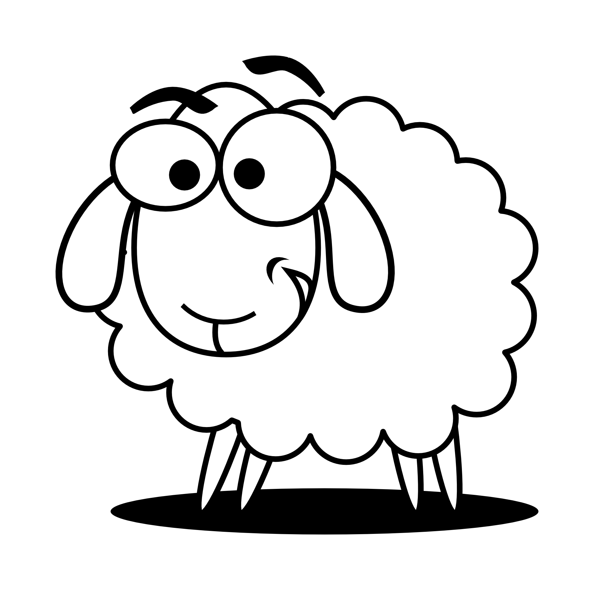 1979x1966 Lamb Clipart Black And White