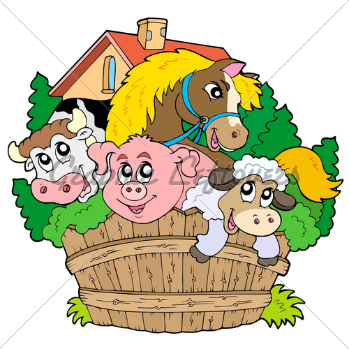 500x500 Cartoon Barn Animals Clipart