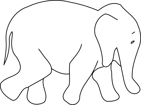 600x444 Elephant Animal Outline Clip Art