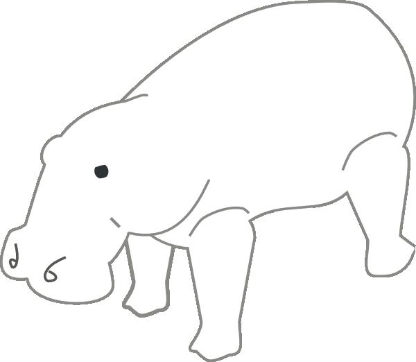 600x522 Hippo Outline Animal Clip Art