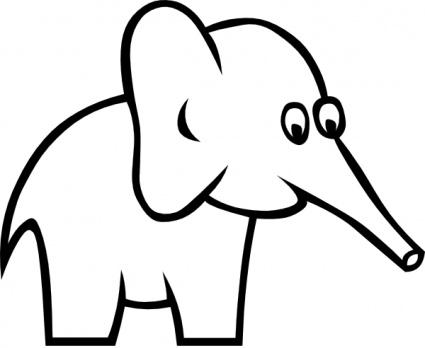 425x348 Cartoon Outline Elephant Clip Art Vector, Free Vector Images