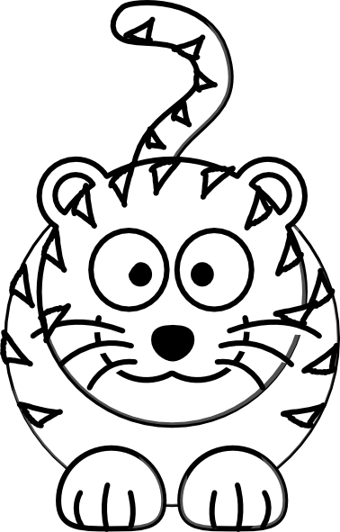 378x591 Cartoon Tiger Outline Clip Art