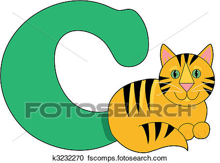 450x334 Clipart Of Letter C With A Cat K3232270
