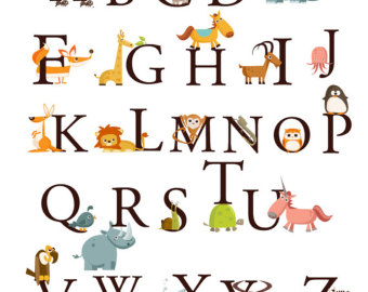 340x270 Alphabet Animals A Z Large Set Kids Wall Art Decals Stickers