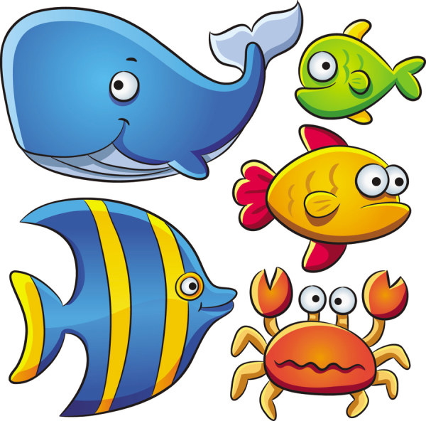 600x592 Cartoon Marine Animals Vector Free Vectors, Free Design Sea