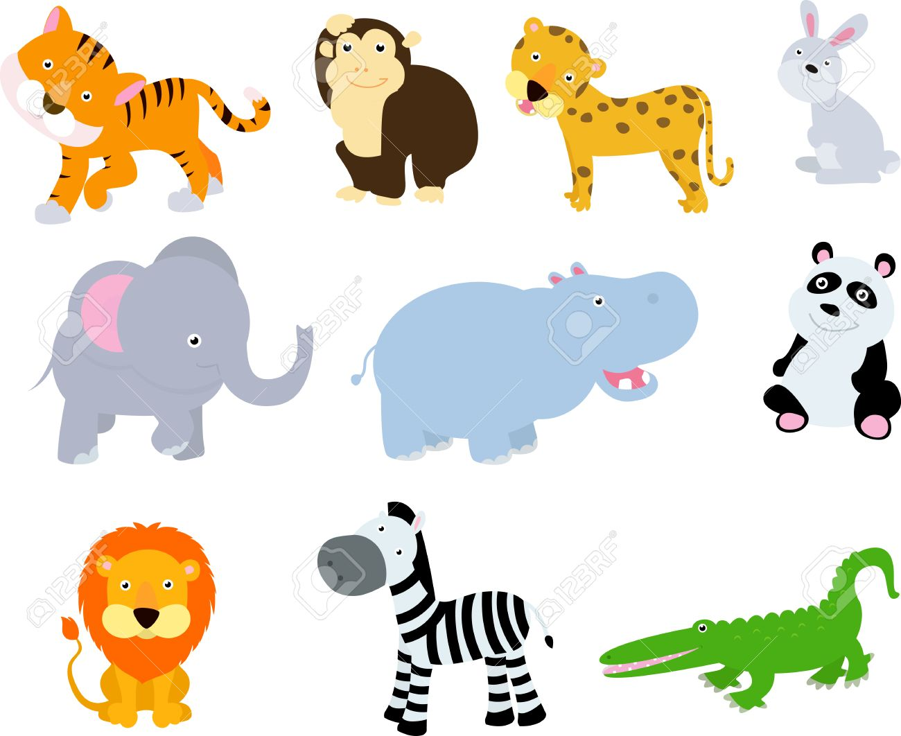 1300x1062 Different Wild Animals Cartoons Royalty Free Cliparts, Vectors