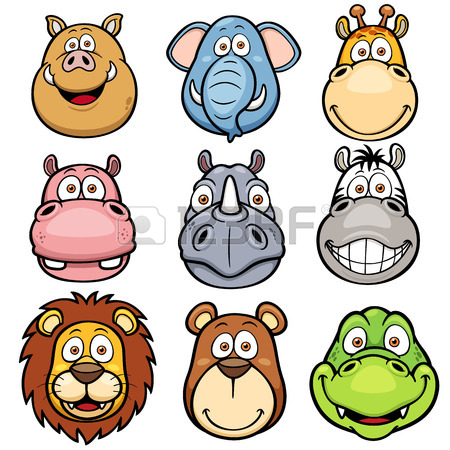 450x450 Vector Illustration Of Wild Animals Faces Cartoons Royalty Free