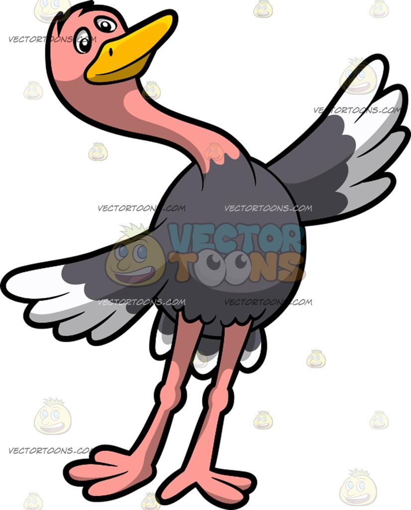 826x1024 A Dancing Ostrich Cartoon Clipart