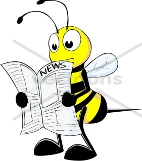 281x320 Bee Reading Newspaper