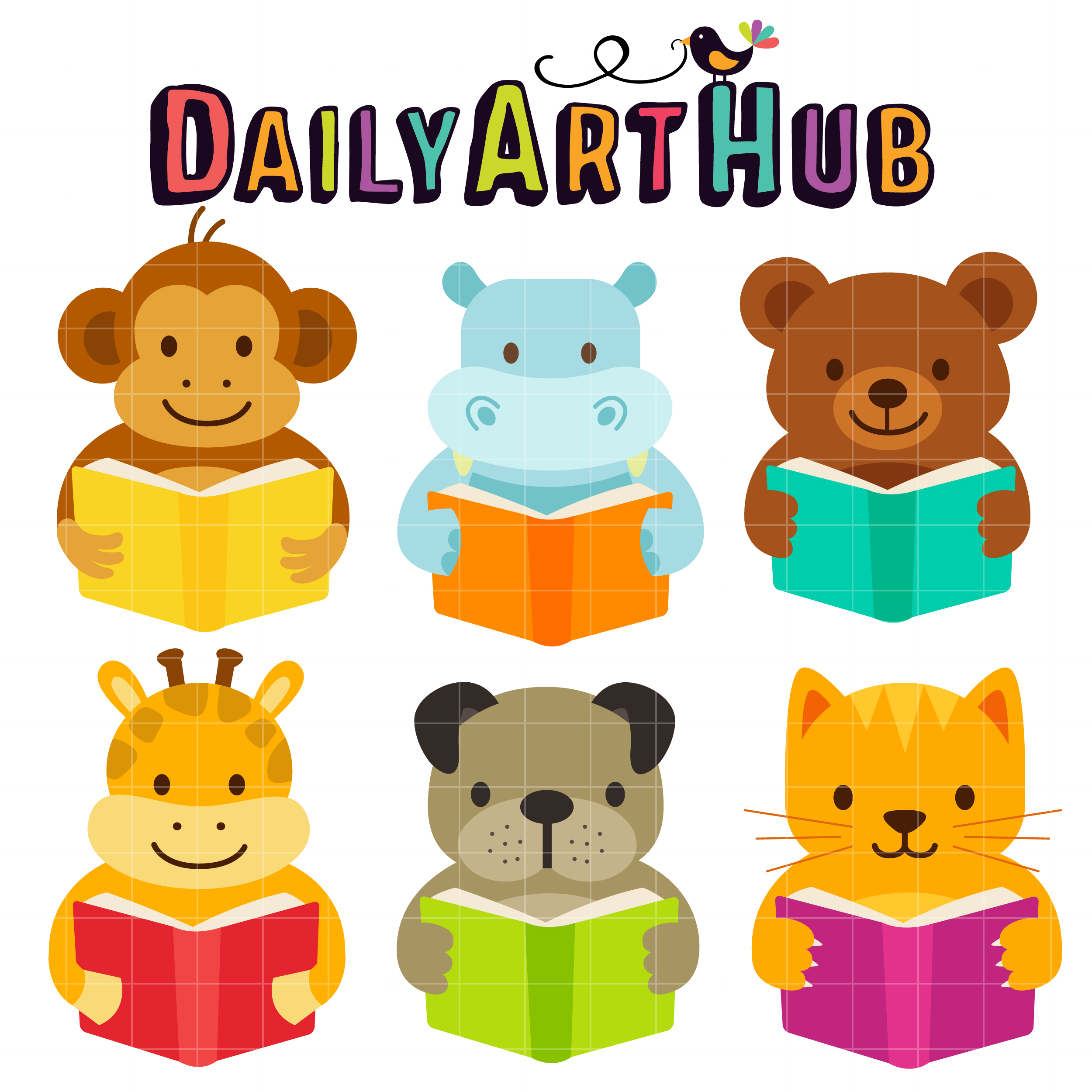 2500x2500 Cute Reading Animals Clip Art Set Daily Art Hub