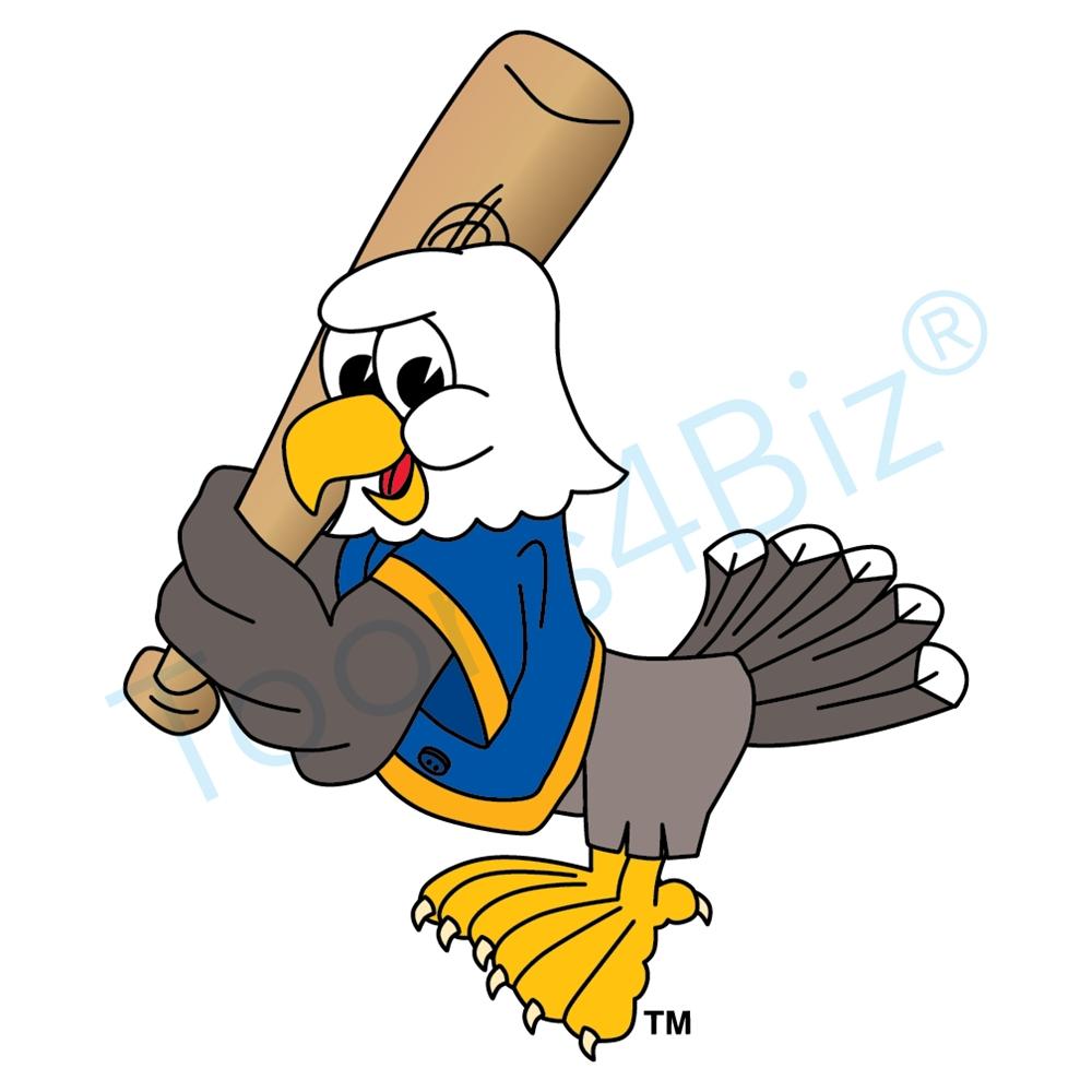 1000x1000 Bald Eagle Mascot Playing Baseball Clip Art