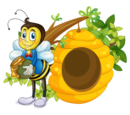 500x443 Cartoon Bee And Beehive Vector Material 06