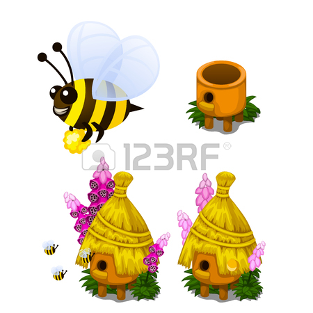 450x450 Bee Carrying Honey And Bee Hive In Cartoon Style Royalty Free