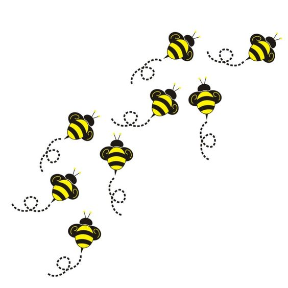 564x564 Bee Buzzing Clipart