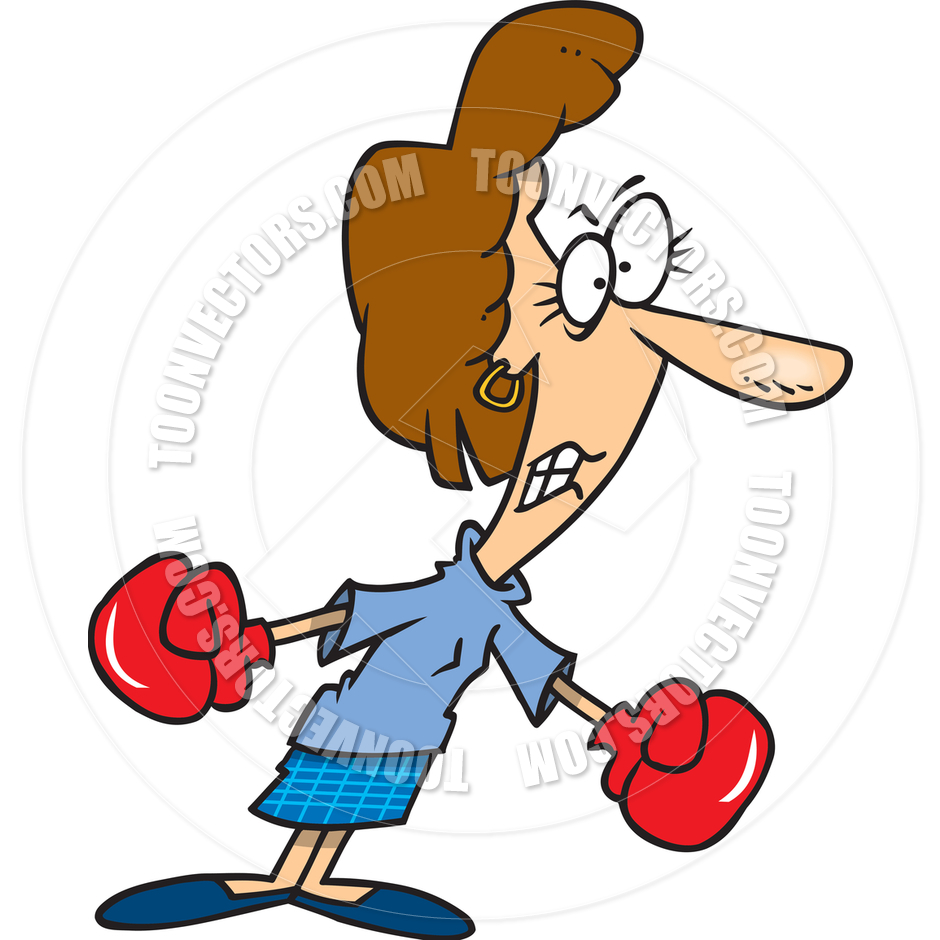940x940 Cartoon Woman Wearing Boxing Gloves By Ron Leishman Toon Vectors