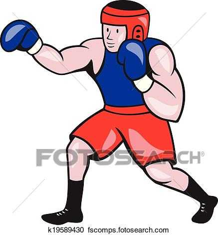 437x470 Clipart Of Amateur Boxer Boxing Cartoon K19589430