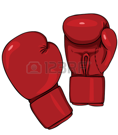 394x450 Vector Cartoon Blue Boxing Gloves On White Background Royalty Free