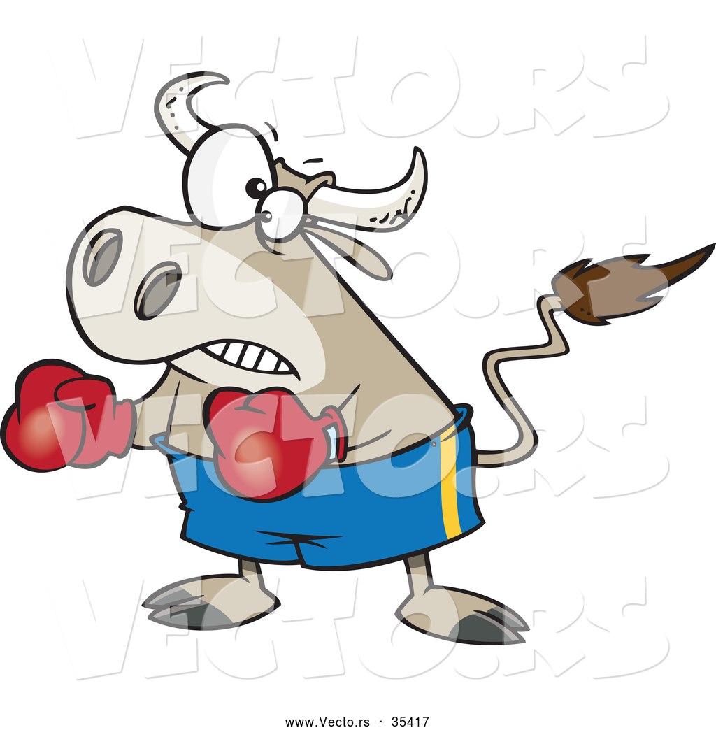 1024x1044 Vector Of A Cartoon Bullfighter Bull Boxer Wearing Boxing Gloves