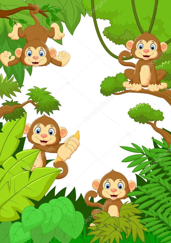 720x1023 Cartoon Happy Monkey In The Forest Stock Vector Tigatelu