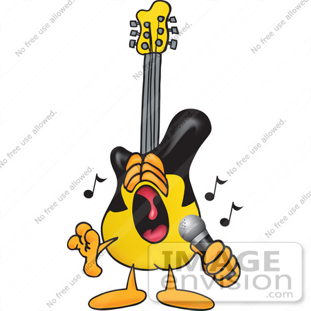 450x450 Clip Art Graphic Of A Yellow Electric Guitar Cartoon Character