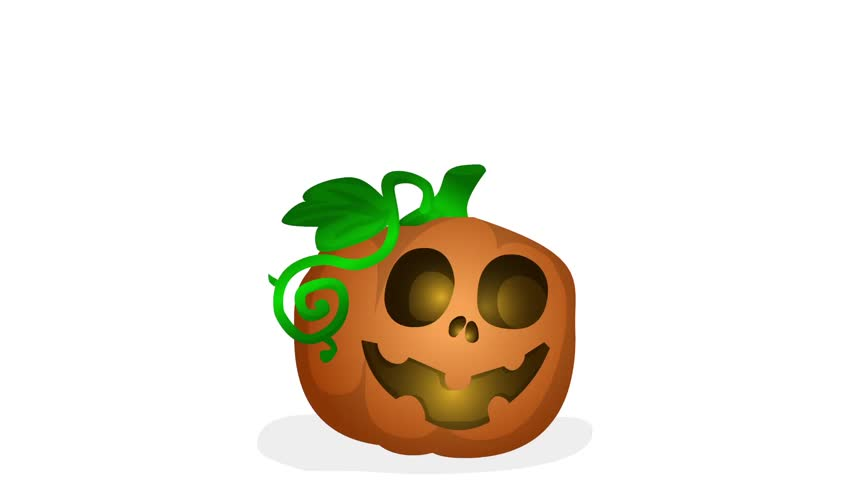 852x480 Animated Halloween Pumkin Clip Green Screen Video Footage Stock