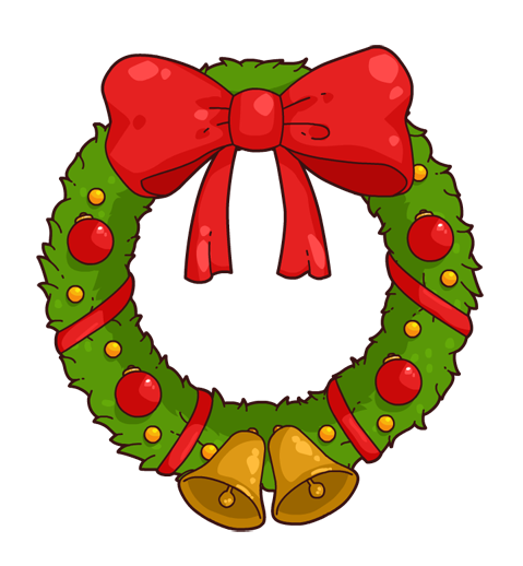 Christmas wreath cute. Animated holiday clipart free