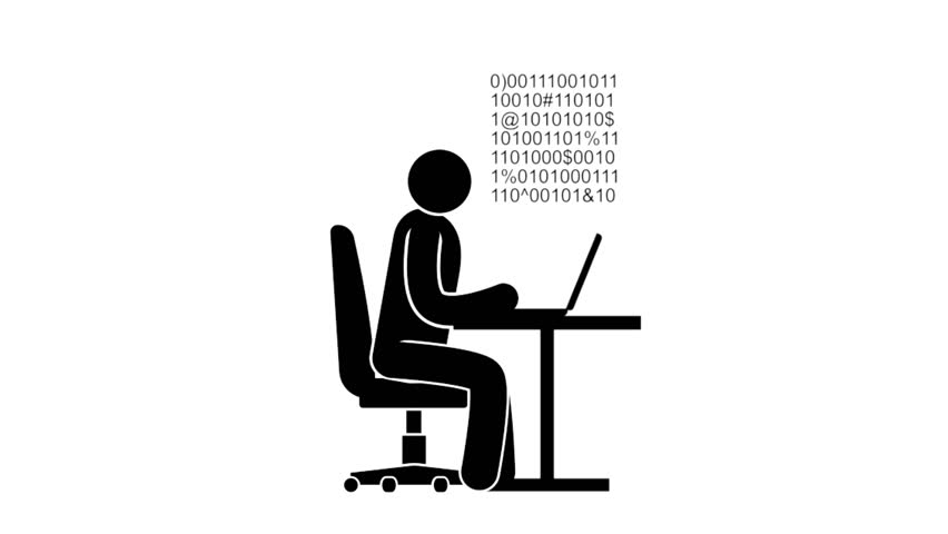 852x480nimated Icon Earnings On The Internet. Pictogram Man Sits