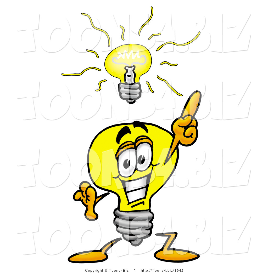 1024x1044 Illustration of a Cartoon Light Bulb Mascot with a Bright Idea by