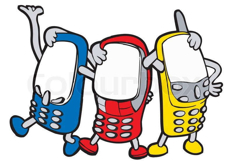 800x577 Colour animated mobile phones with handles and legs stands having