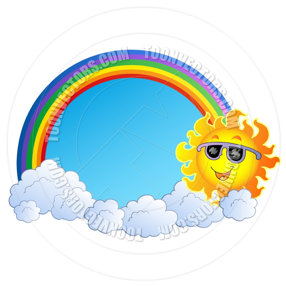940x940 Cartoon Rainbow With Sun And Clouds By Clairev Toon Vectors Eps