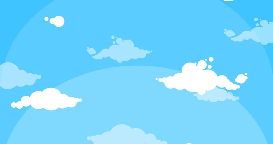 910x480 Cartoon White Clouds Moving Up Blue Sky Background Loop Animation