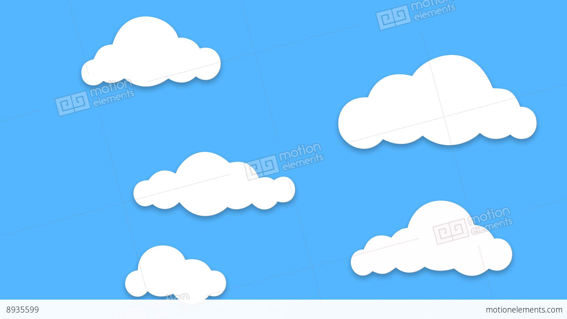 1920x1080 Different Shape Cartoon Clouds Popup And Floating On Blue