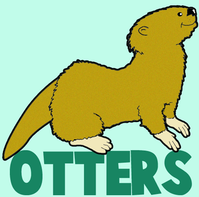 400x397 How To Draw Cartoon Otters With Easy Instructional Steps