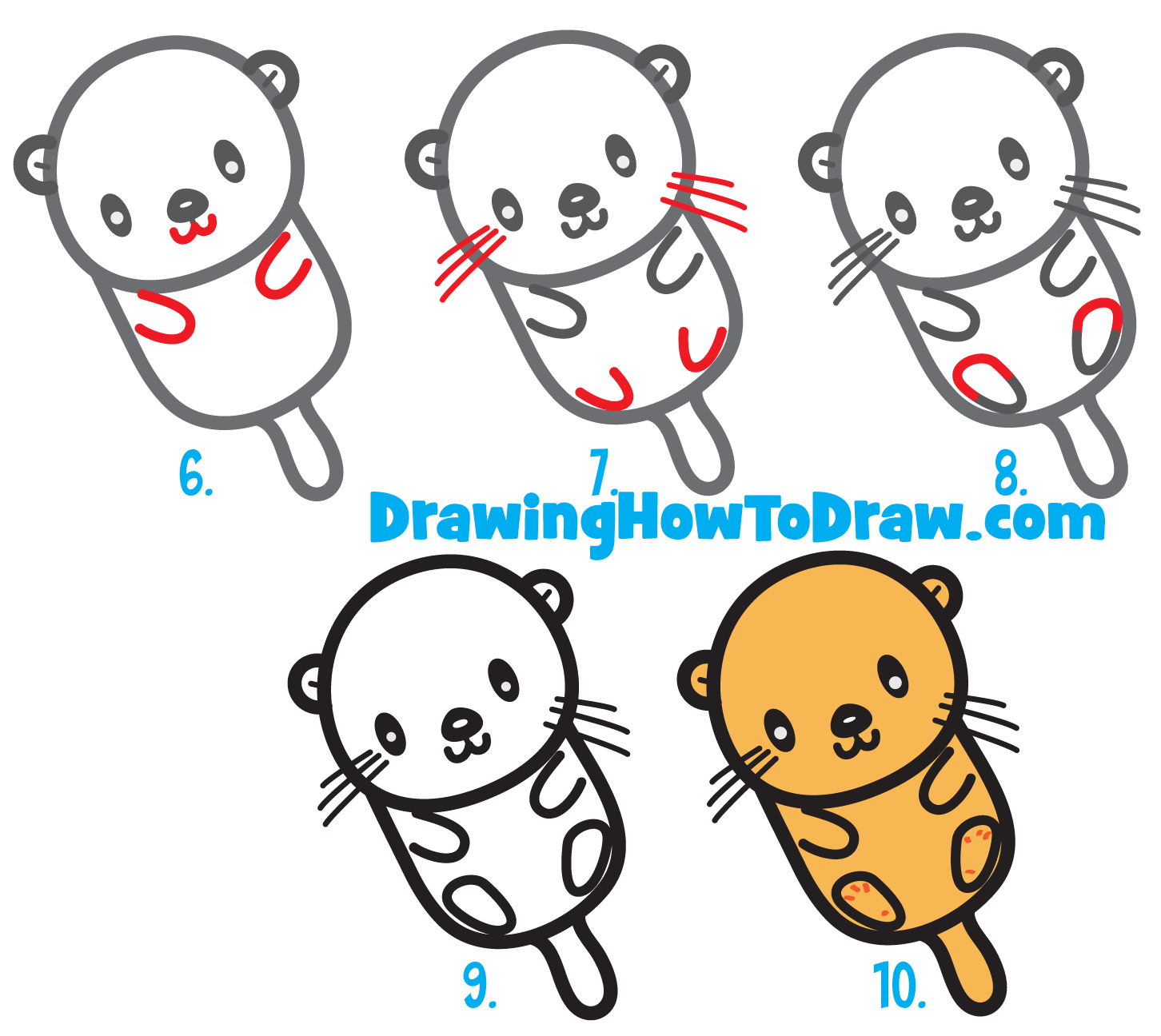 1452x1296 How To Draw A Cute Kawaii Cartoon Otter Floating Down The River