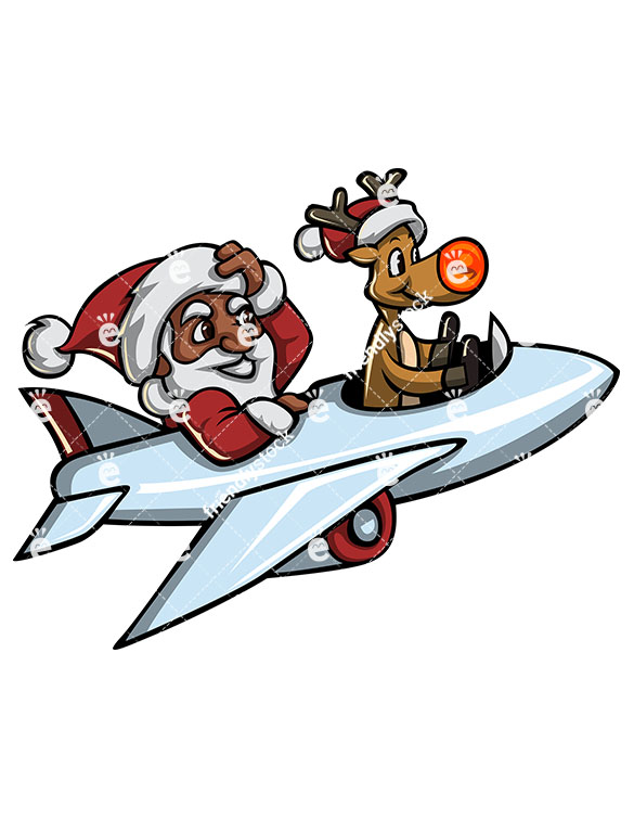 585x755 Black Santa Claus And Rudolph The Reindeer Flying A Plane