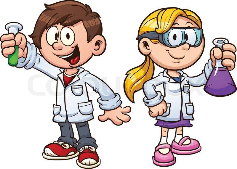 800x571 Scientist Kids. Vector Clip Art Illustration With Simple Gradients